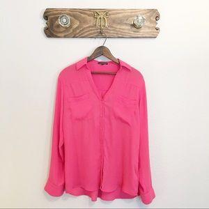 Express Portofino Long Sleeve Sheer Shirt Coral